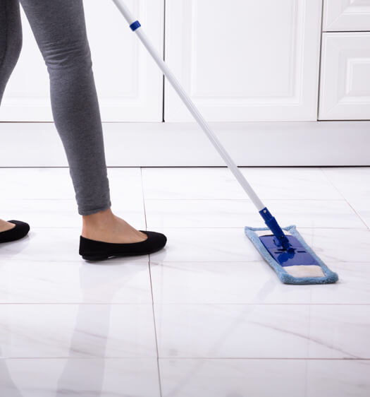 mopping tile floors