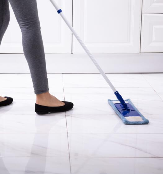 mopping tile floors